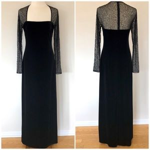 J.S. Boutique Velvet Gown w/Sheer Sleeves Size 10